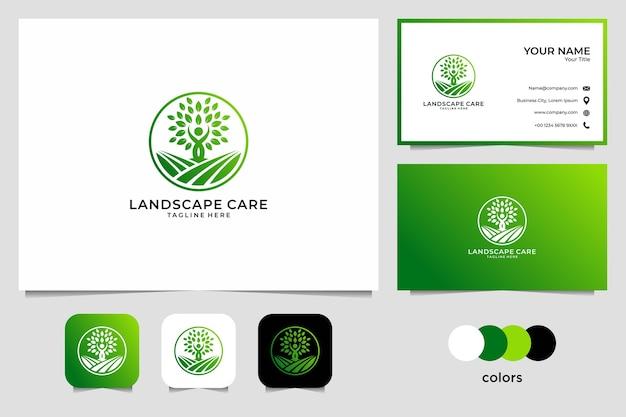 Уход за ландшафтом с людьми и дизайном логотипа дерева и визитной карточки