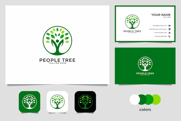 Landscape care with people and tree logo design and business card