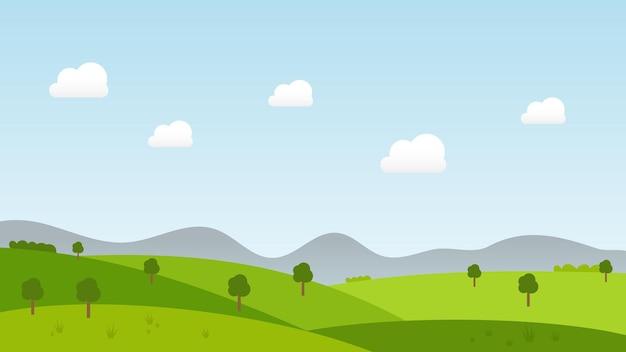 丘の上の木々の緑の草と夏の青い空の背景の白い雲と風景漫画シーン