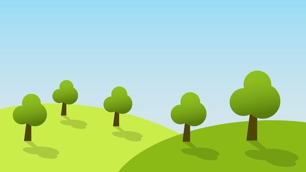 コピースペースと夏の青い空の背景の丘の上の木々緑の草と風景漫画シーン