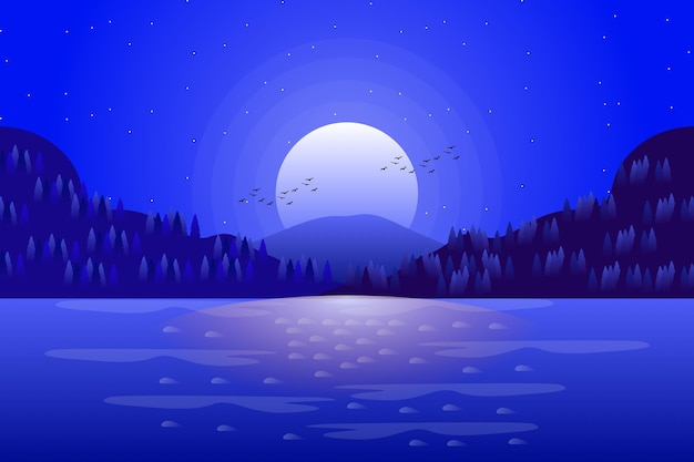 Landscape cartoon of sea and starry night sky in blue color illustration