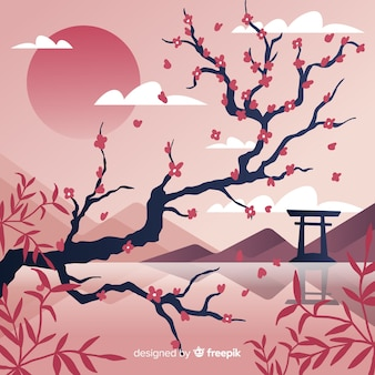 Landscape cherry blossom background