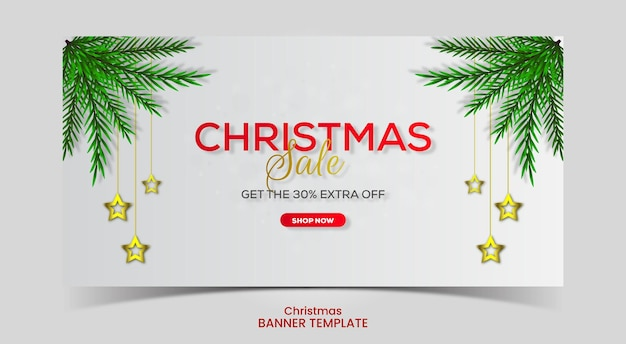 Landscape christmas sale banner with christmas ball