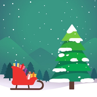 Landscape of christmas with tree and sledge