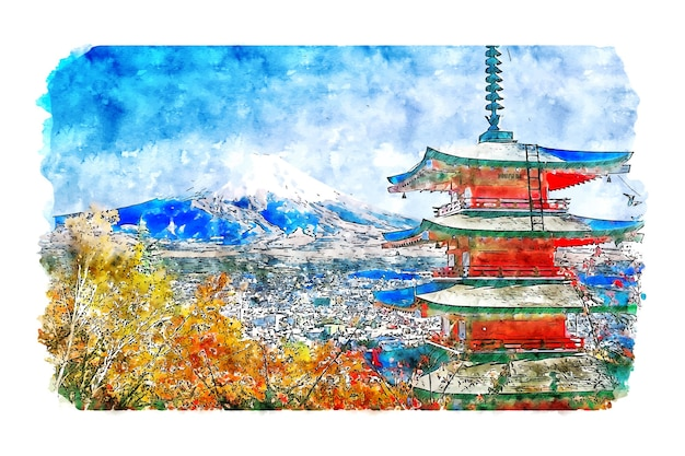 Landscape chureito pagoda japan watercolor sketch hand drawn illustration