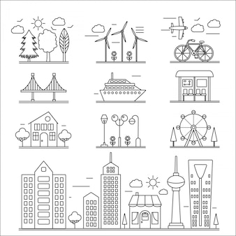 Landscape city buildings line icons