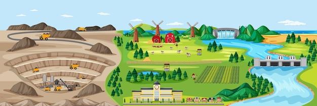Paesaggio della miniera di carbone e terreni agricoli