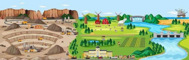 Paesaggio di miniera di carbone e terreni agricoli