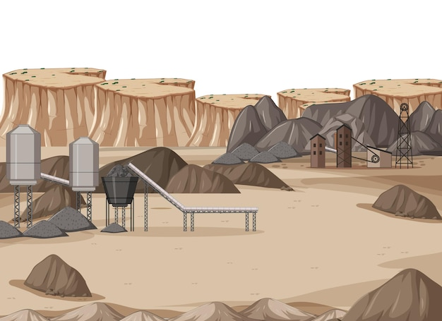 Landscape of coal mining industry at daytime