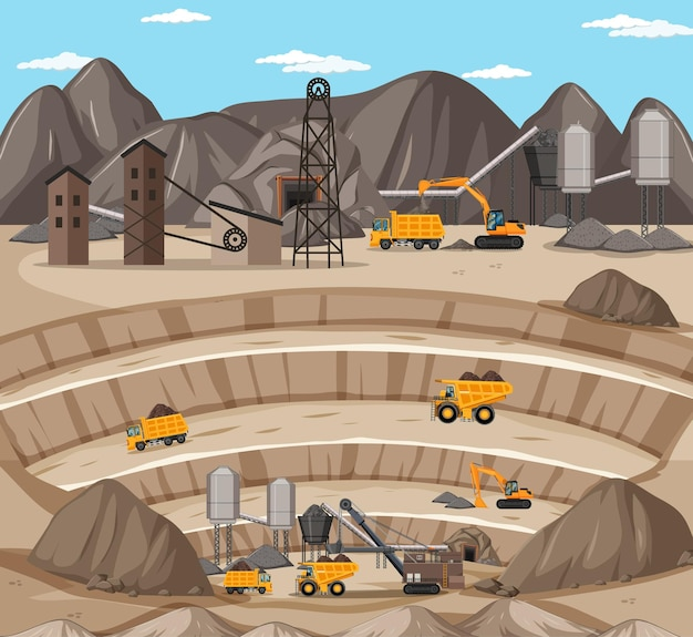 Landscape of coal mining scene with crane and trucks