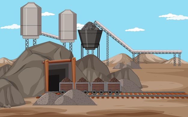 Landscape of coal mining scene