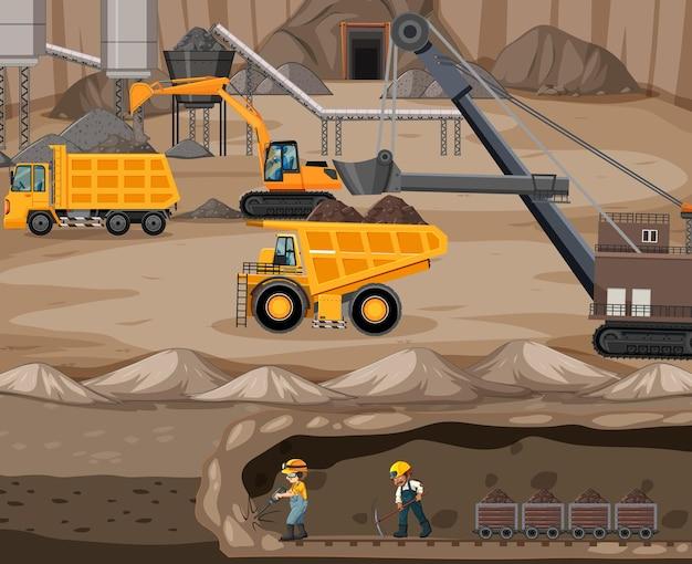 Paesaggio dell'estrazione del carbone con scena sotterranea