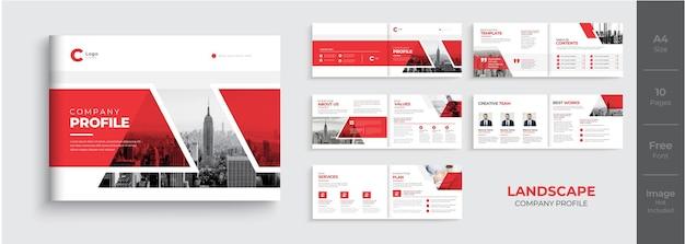 風景会社のプロフィールのパンフレットのデザインまたは赤い色の形のパンフレットのテンプレート