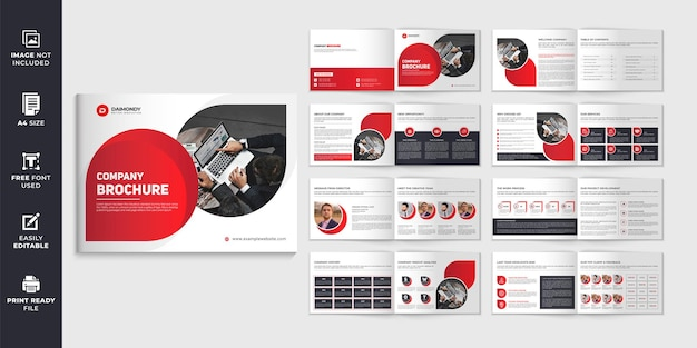 Landscape company profile brochure design template or red color shape multipage brochure design