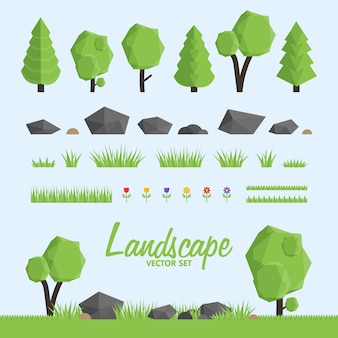 Landscape constructor icons set.  trees, stone and grass elements for landscape .