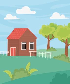 フェンスの木の庭と牧草地の漫画イラストと風景コテージ