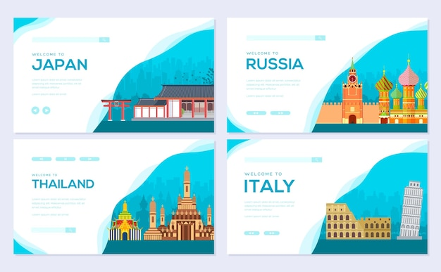 Landscape country japan, russia, thailand, italy of template of web banner, ui header, enter site.