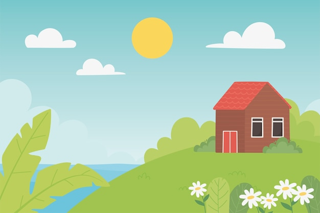 Landscape countryside house meadow flowers leaf sunny day illustration