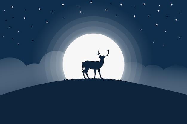 Пейзаж с оленями ночью украшен полной луной