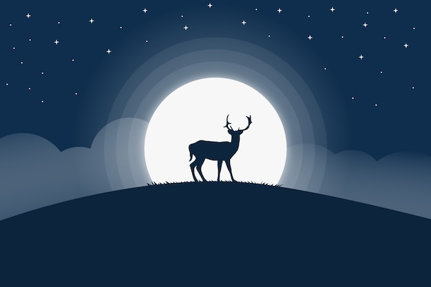 Landscape deer at night decorated with full moon
