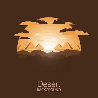 Landscape desert, houses near egyptian pyramids under sun .