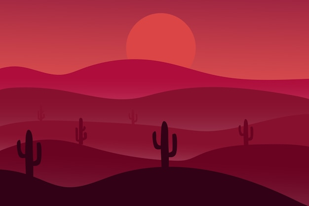 Landscape desert at night is red