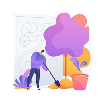 조경 디자인 추상적 인 개념 벡터 일러스트 레이 션. 조경 계획 규칙 및 팁, 원예 서비스, 상체 및 뒷마당 건축, diy 아이디어, 수직, 옥상 정원 추상 은유.