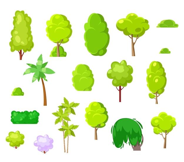 조경 디자인 만화 나무, 식물, 관목 및 야자수. 벡터 공원과 흰색 배경에 고립 된 열 대 나무. 녹색 잎과 갈색 줄기가 있는 천연 식물, 조경 디자인 요소