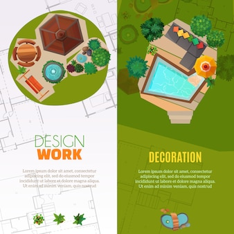 Landscape design top view banners