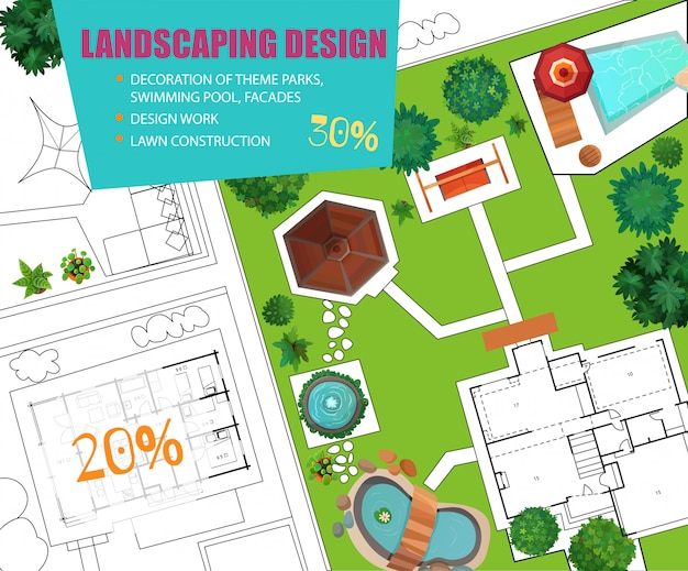 Landscape design top view sale banner