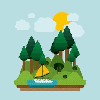 Landscape design, vector illustration