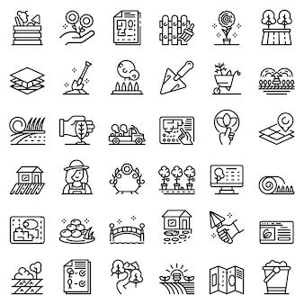 Landscape designer icons set, outline style