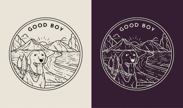 Landscape dogs monoline badge