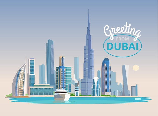 Landscape of dubai.  flat illustration
