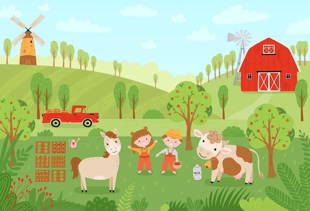 조경 농장. 평평한 스타일의 농장 동물들이 있는 귀여운 배경. 어린이 농부들이 작물을 수확하고 있습니다. 목장에서 애완 동물, 어린이, 공장, 픽업, 헛간과 그림. 벡터