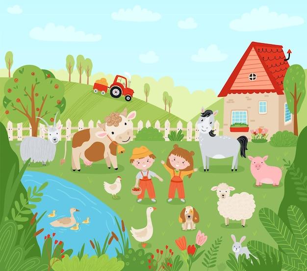 ランドスケープファーム。フラットスタイルの家畜とかわいい背景。子どもの農民は作物を収穫しています。ペット、子供、製粉所、ピックアップ、村の家のイラスト。ベクター