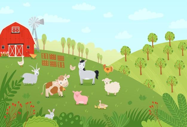 ランドスケープファーム。フラットスタイルの家畜とかわいい背景。ペットの牛、馬、豚、ガチョウ、ウサギ、鶏、山羊、羊、牧場の納屋のイラスト。ベクター