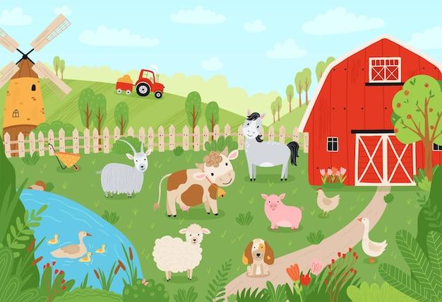 ランドスケープファーム。フラットスタイルの家畜とかわいい背景。ペットの牛、馬、豚、ガチョウ、ウサギ、鶏、山羊、羊、犬、納屋、製粉所、牧場のトラクターのイラスト。ベクター