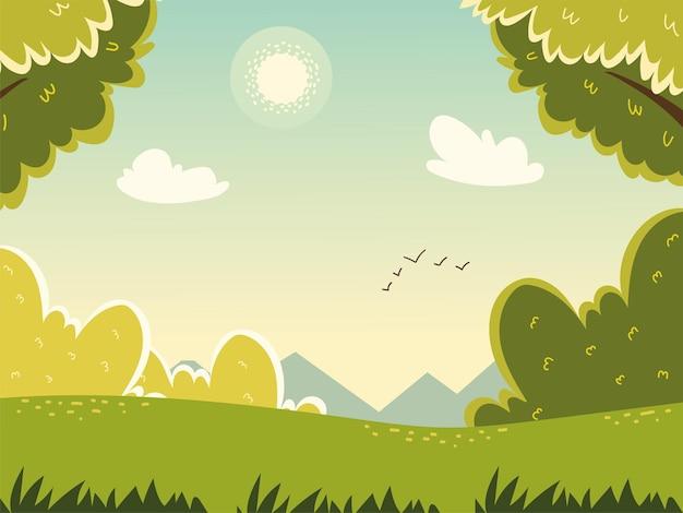 Пейзаж поле птицы кусты природа
