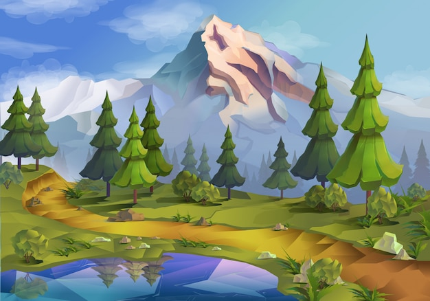 Landscape, fir trees, mountains, nature illustration