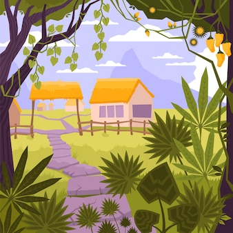 Landscape flat and colored composition with house in village in the forest illustration