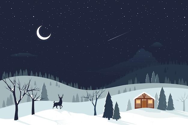 Landscape flat design winter