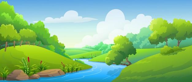 Пейзаж лес и река в дневное время Premium векторы