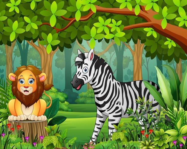 Landscape forest cartoon of green in spring with animals