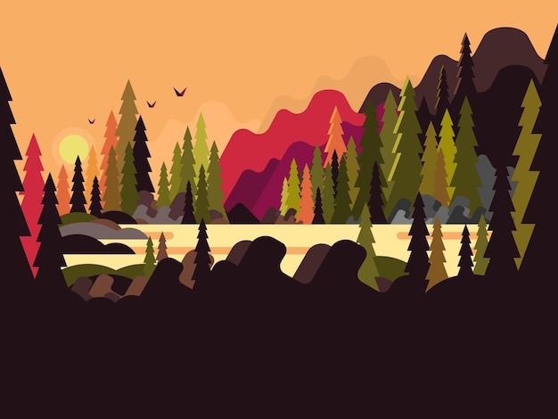 ランドスケープフォレストフラットデザイン。自然の木、緑の環境、自然シーンの木、イラスト