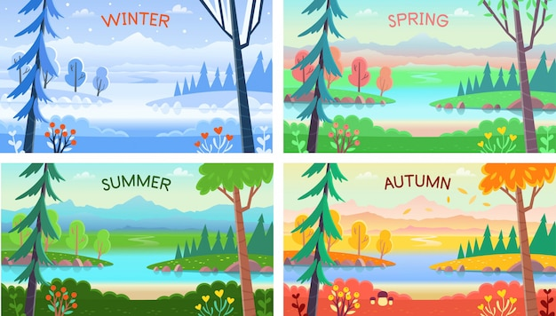 Landscape four seasons. winter, spring, summer, autumn. forest landscape with trees, bushes, flowers, road, and a lake.