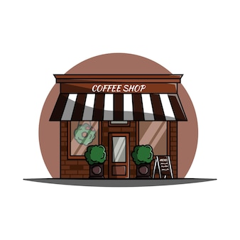 Landscape front view coffee shop vector illustration