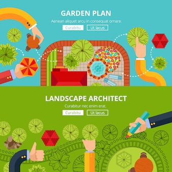 Landscape garden design concept poster