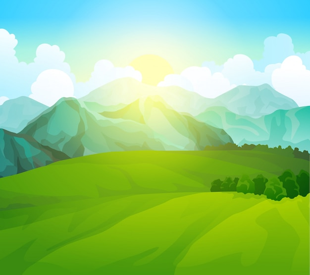 山のある緑の牧草地を風景します。夏の谷の眺め。丘のフィールドを風景します。野生の自然の草や田舎の森。日の出と夏のベクトル土地