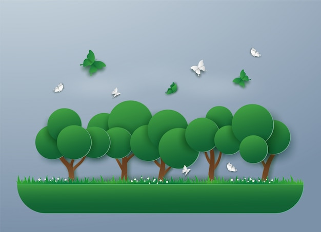 Landscape of green nature with eco energy and environment, tree and butterfly. vector illustration art design in paper cut style.